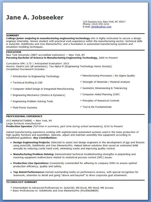 Design Engineer Resume Sample (Entry Level) Creative Resume - entry level resume cover letter examples