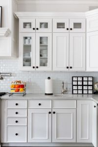 small subway tile in Kitchen Traditional with black ...