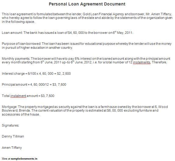 Printable Sample Personal Loan Agreement Form Laywers Template - loan contract sample