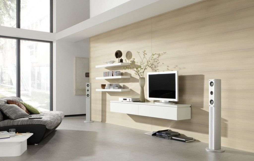 Elegant Home Living Room Design With Tv On Wall And Combine With - wall units for living rooms