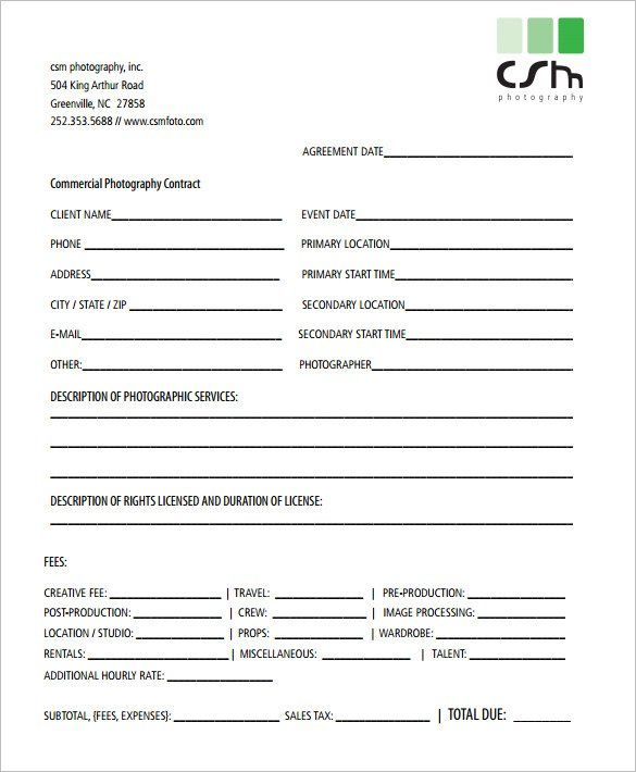 Commercial Photography Contract Template , 20+ Photography - production contract agreement