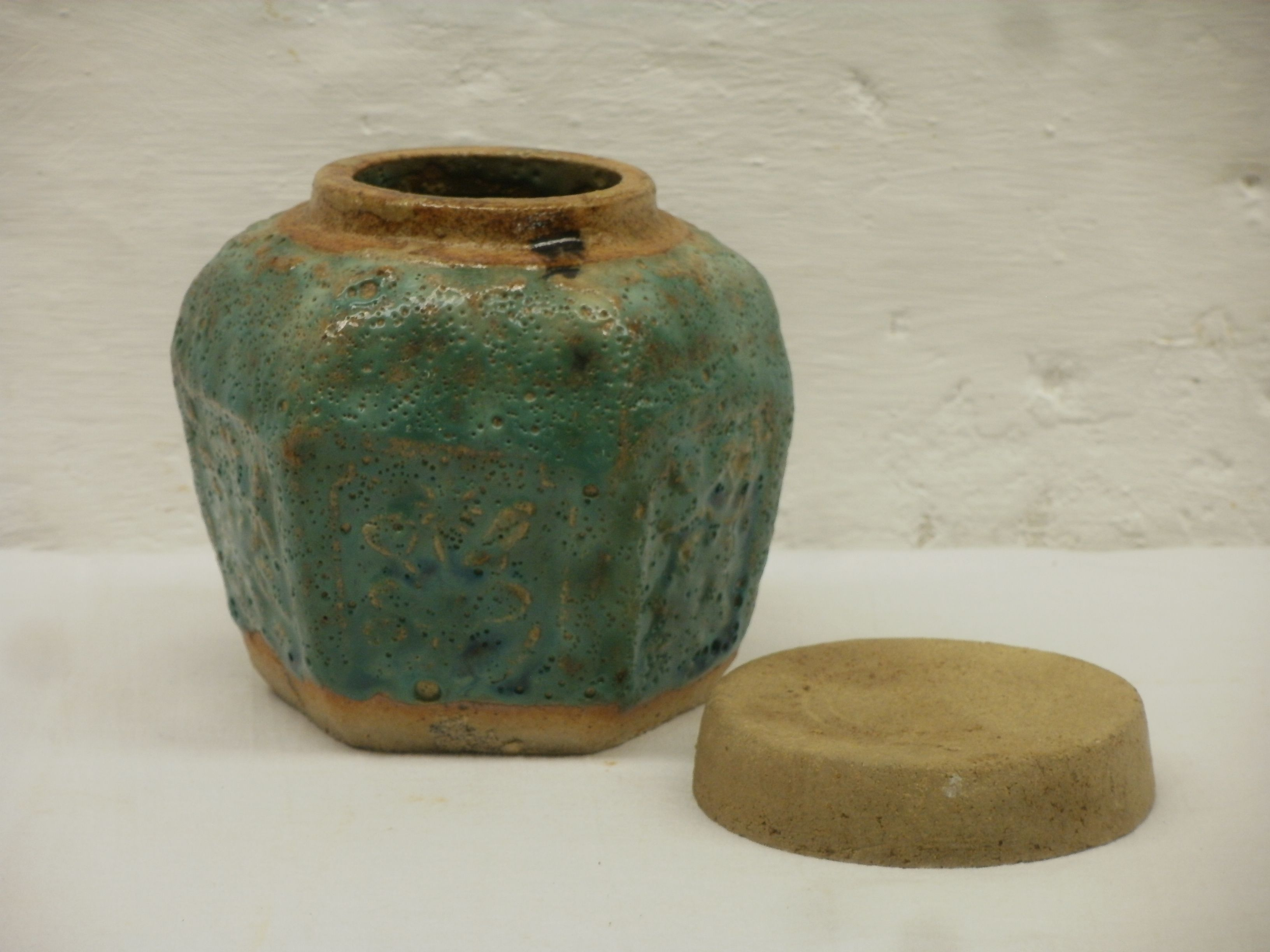 Small Ceramic Jars With Lids Small Green Glazed Ginger Jar With Ceramic Lid Overfired