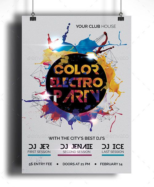 Color Electro Party Future sound colorful electro flyer is the - electro flyer