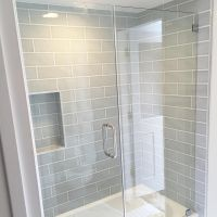 Gray blue large subway tile from Home Depot, brand ...