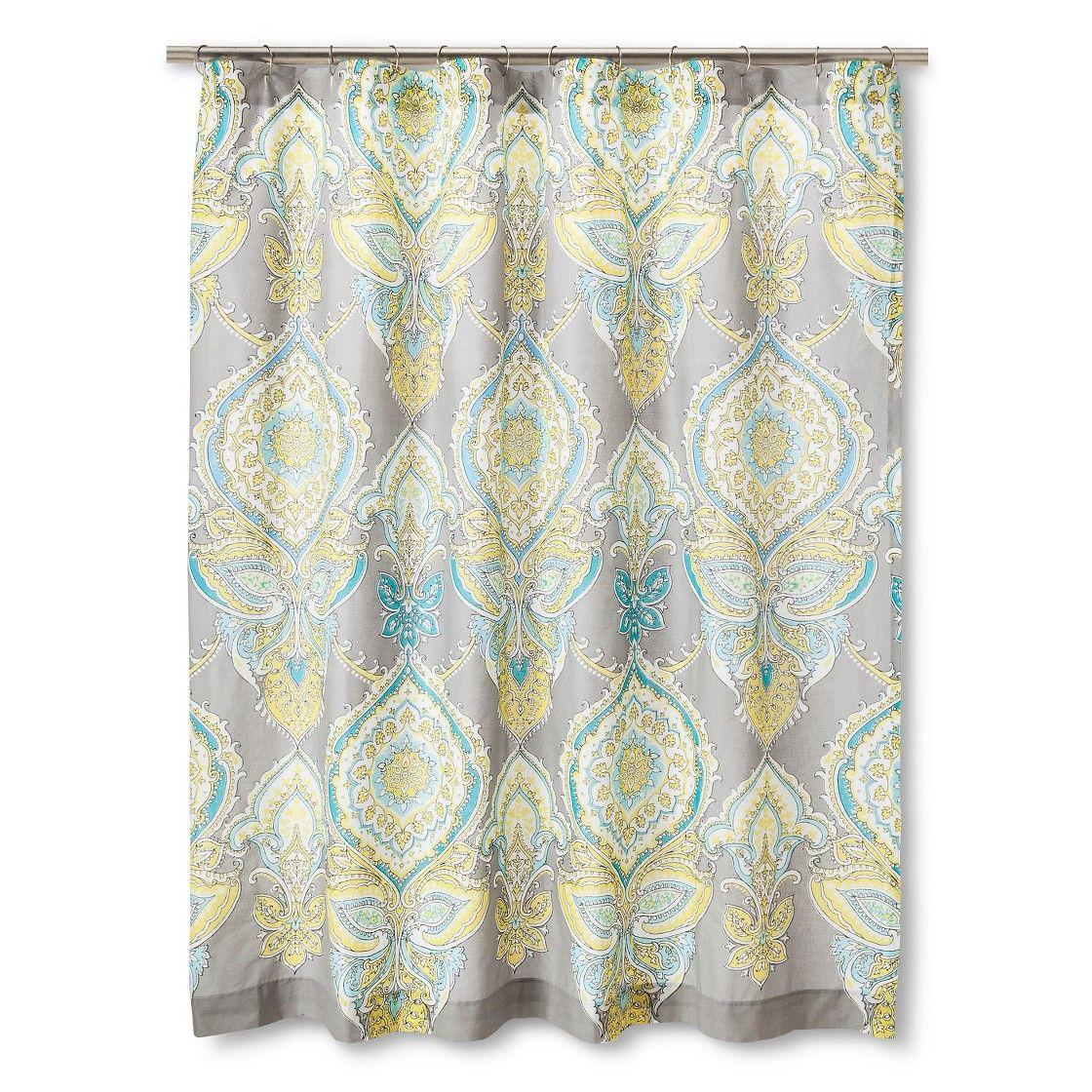 Aqua chevron shower curtain - Anila Shower Curtain Gray Aqua Yellow Mudhut