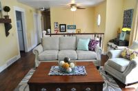 split level living room--I love the wall color and that ...