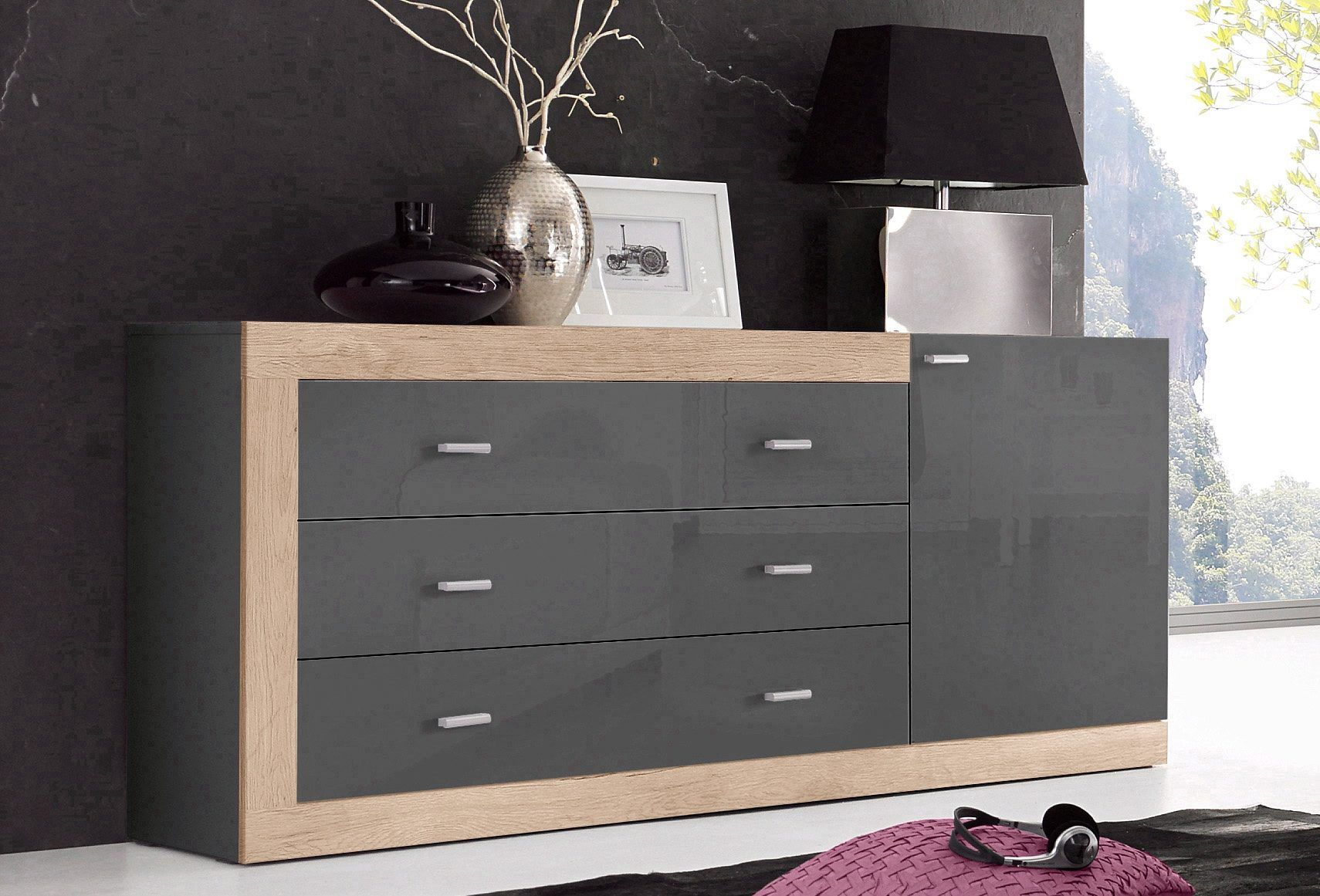 Sideboards Lugano Sideboard Braun Walnuss Interior Sideboard Grau Hochglanz Interesting Highboard Hochglanz