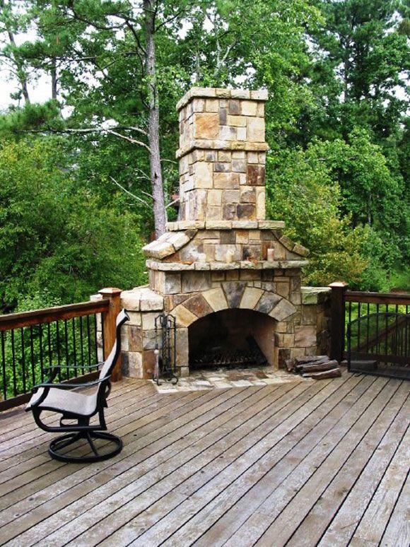 Outdoor Fireplace On Deck Hardscape 1 John Wesley