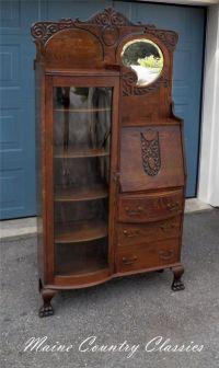 Antique OAK SIDE BY SIDE BOW FRONT BOOKCASE & DESK Beveled ...