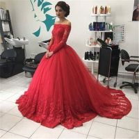 Red Long Sleeve Appliques Lace Ball Gown Quinceanera ...