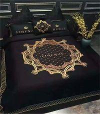 Black and Gold Luxury 100% cotton 4 piece bedding set ...