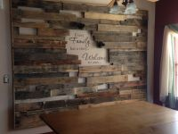 Our newest project. A rough pallet frame wall that says ...