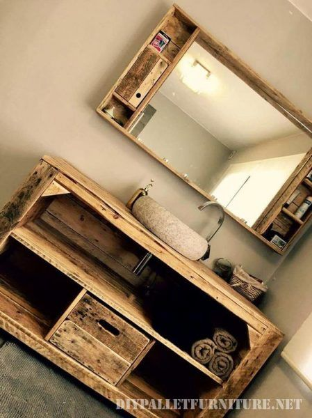 Wasch Tisch Aus Aufgearbeitetem Bauholz, Konsole Bauholz   Badezimmer  Konsole