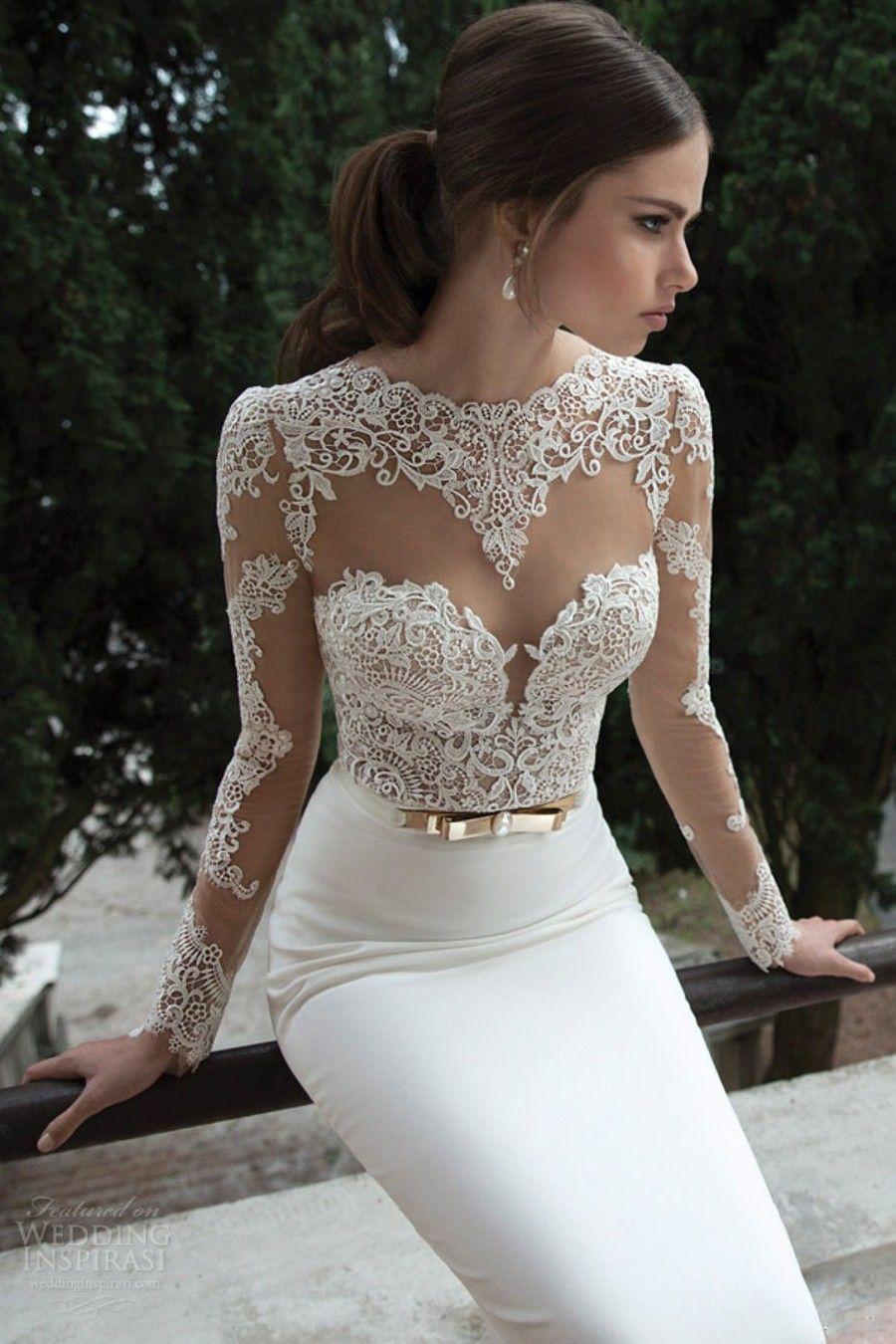 wedding dresses long train Trumpet Mermaid Long Sleeves Satin Sweep Brush Train Lace Wedding Dresses