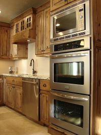 double oven and microwave and alder+kitchen+cabinets ...