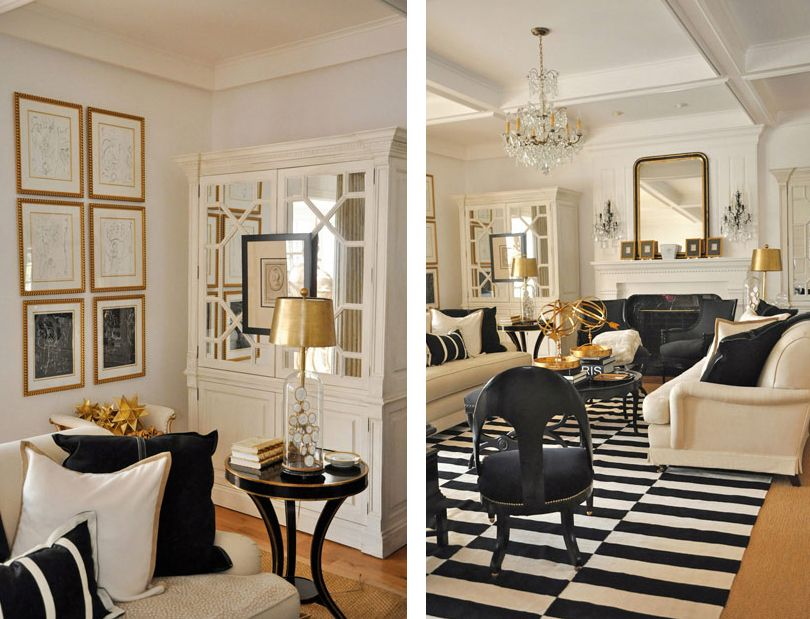 Featured Home Black, White and Gold Themed Décor BETTER - black white and gold living room ideas