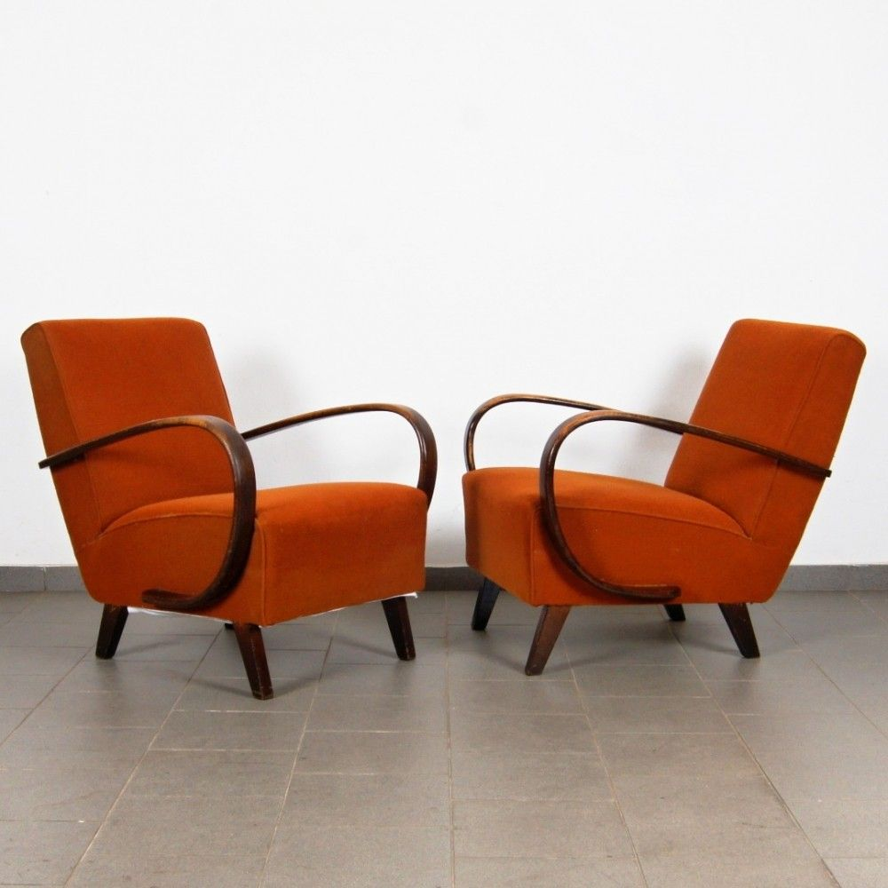 Jindrich Halabala Sessel Pair Of Arm Chairs By Jindřich Halabala For Spojene Up Zavody