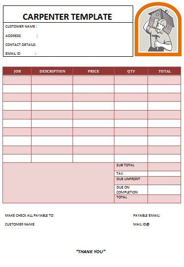 CARPENTER INVOICE TEMPLATE-15 Carpenter Invoice Templates - carpenter invoice template