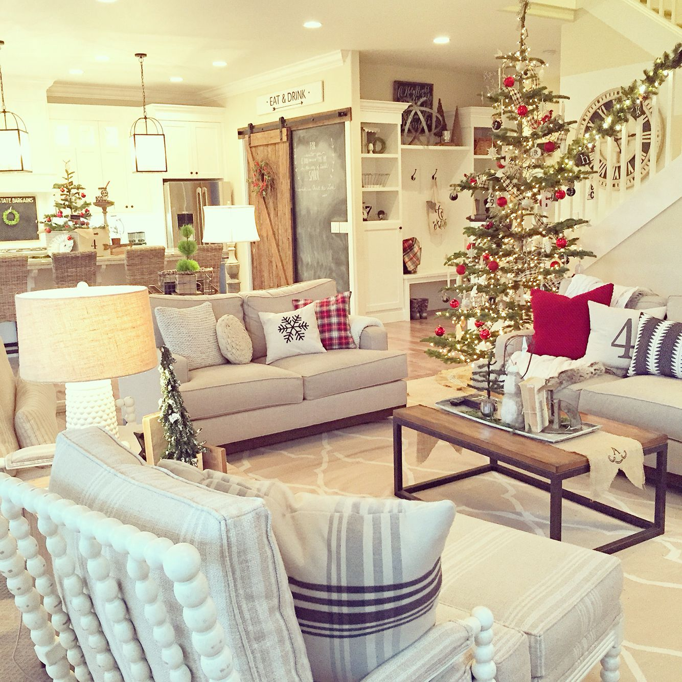 Christmas Interior Design Neutral 43 Pops Of Red For A Farmhouse Christmas Interior
