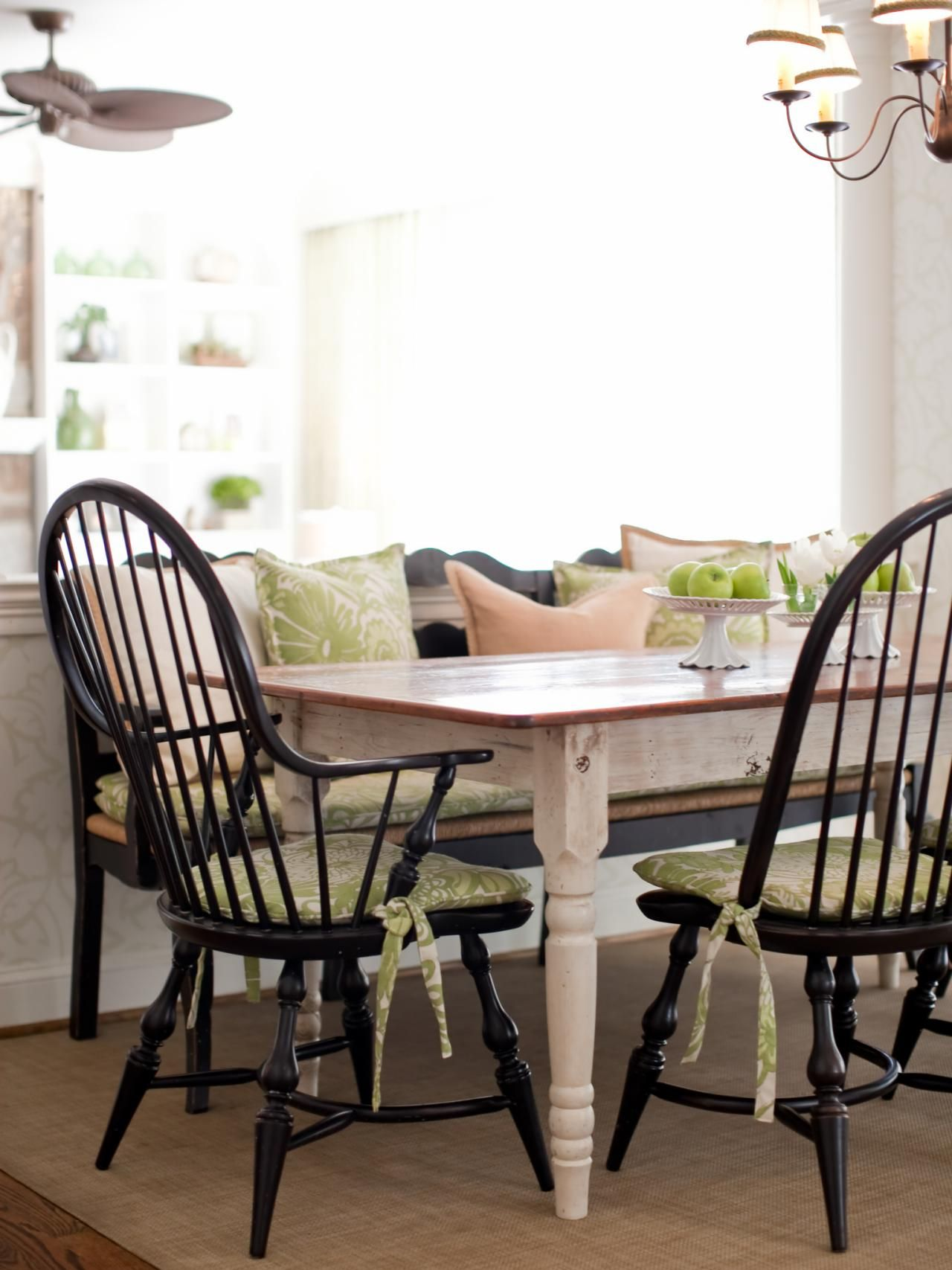 Black Farmhouse Table With Bench This Country Dining Setting Features A Farmhouse Table