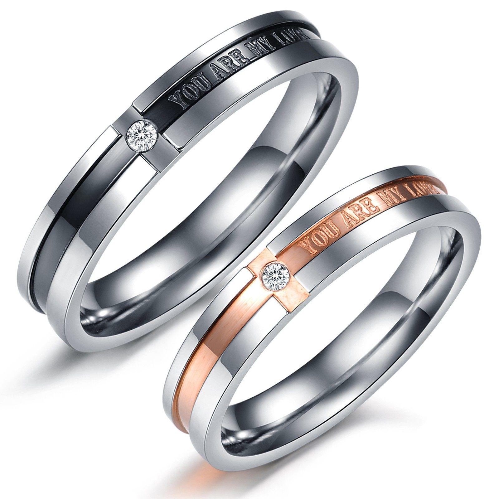 rings wedding Simple bu elegant couples rings Matching Couple Titanium Steel Engagement Promise Ring Wedding Bands