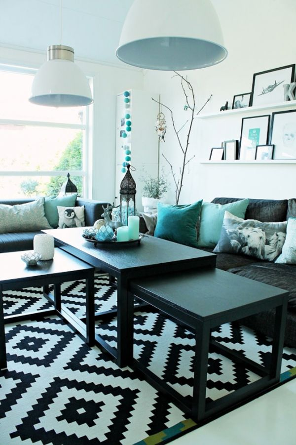 25 Turquoise Living Room Design Inspired By Beauty Of Water - grey and turquoise living room