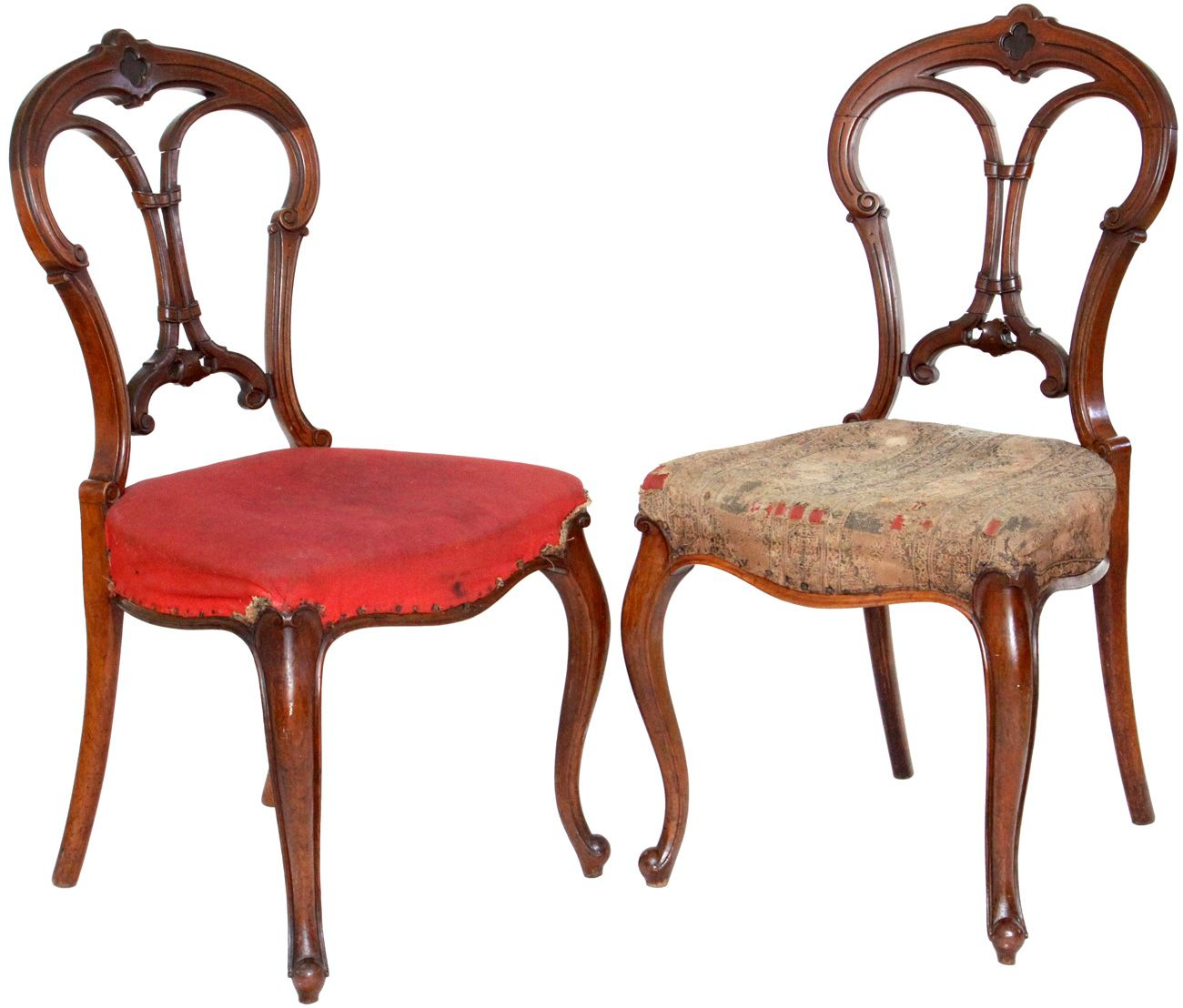 Antique furniture pair of antique victorian balloon back chairs with carved back