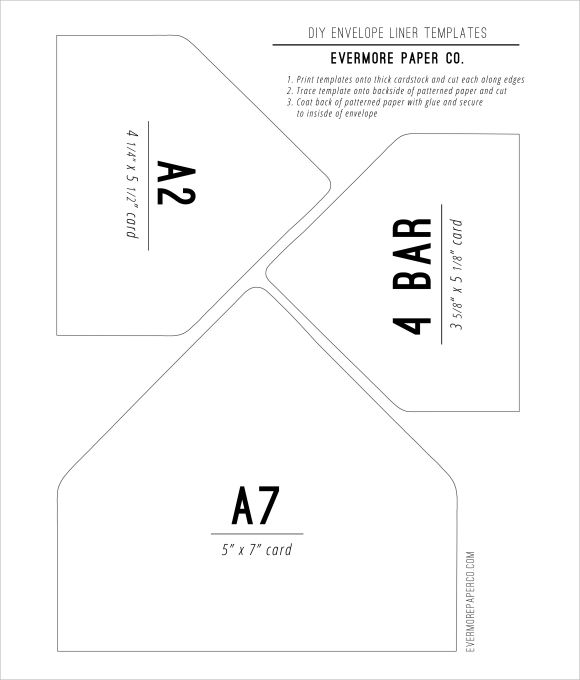 DIY Envelope Liners Template Paperie Pinterest Diy - sample 5x7 envelope template