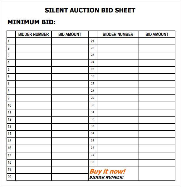 Free Download 6 Silent Auction Bid Sheet Templates in various - sample silent auction bid sheet