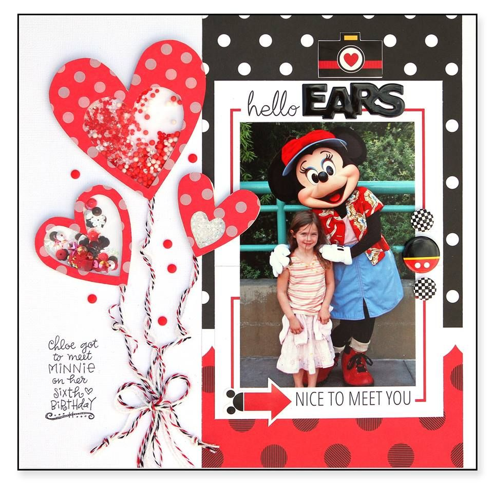 Disney scrapbook layout with mickey mouse and shaker hearts