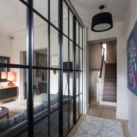 Narrow hallway with glass panelling   Modern decorating ...