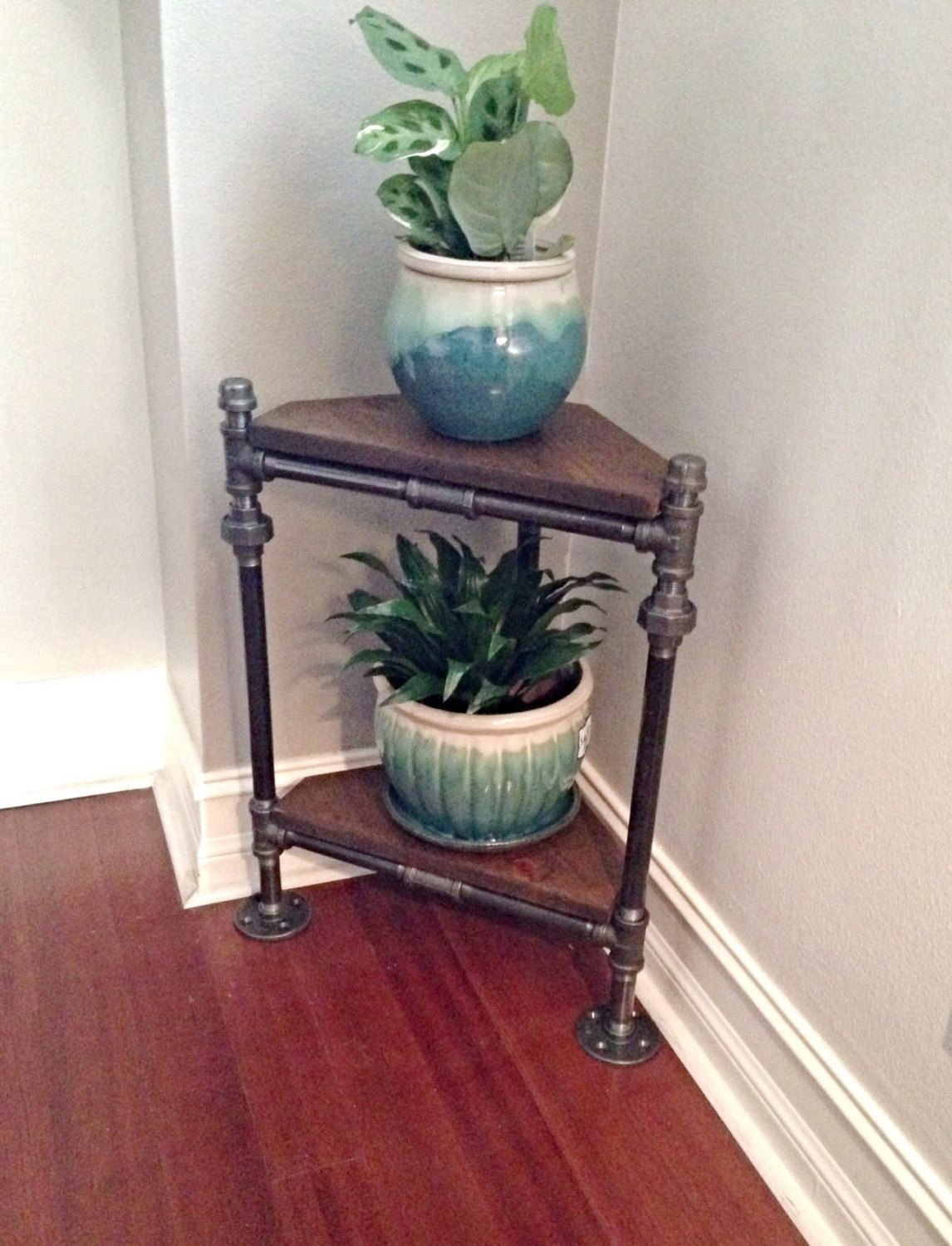 Corner Table For Plants Industrial Pipe Corner Plant Stand By Industrialhomebazaar