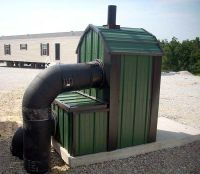 Outdoor Forced Air Wood Burning Furnace. ThermoWind 1000 ...