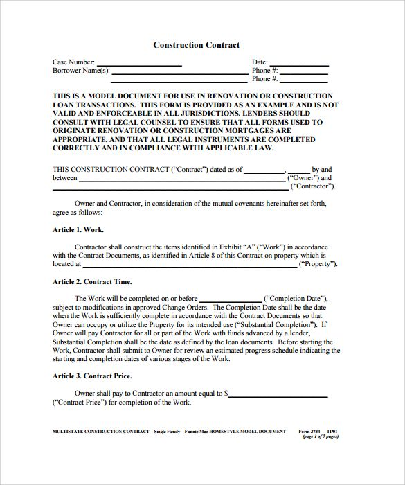construction contract example , 8+ Construction Contract Template - mortgage contract template