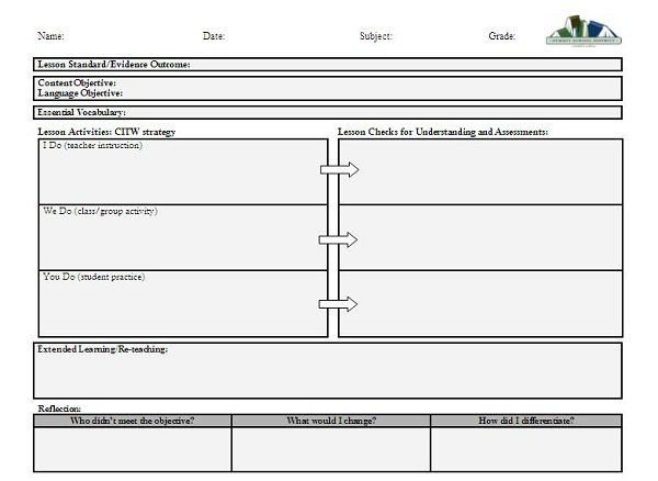 VISUAL ART Lesson Plan Template Click to download the lesson - art lesson plans template
