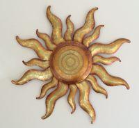 Golden Sun Celestial Wall Art Metal Gold Sunburst Garden ...