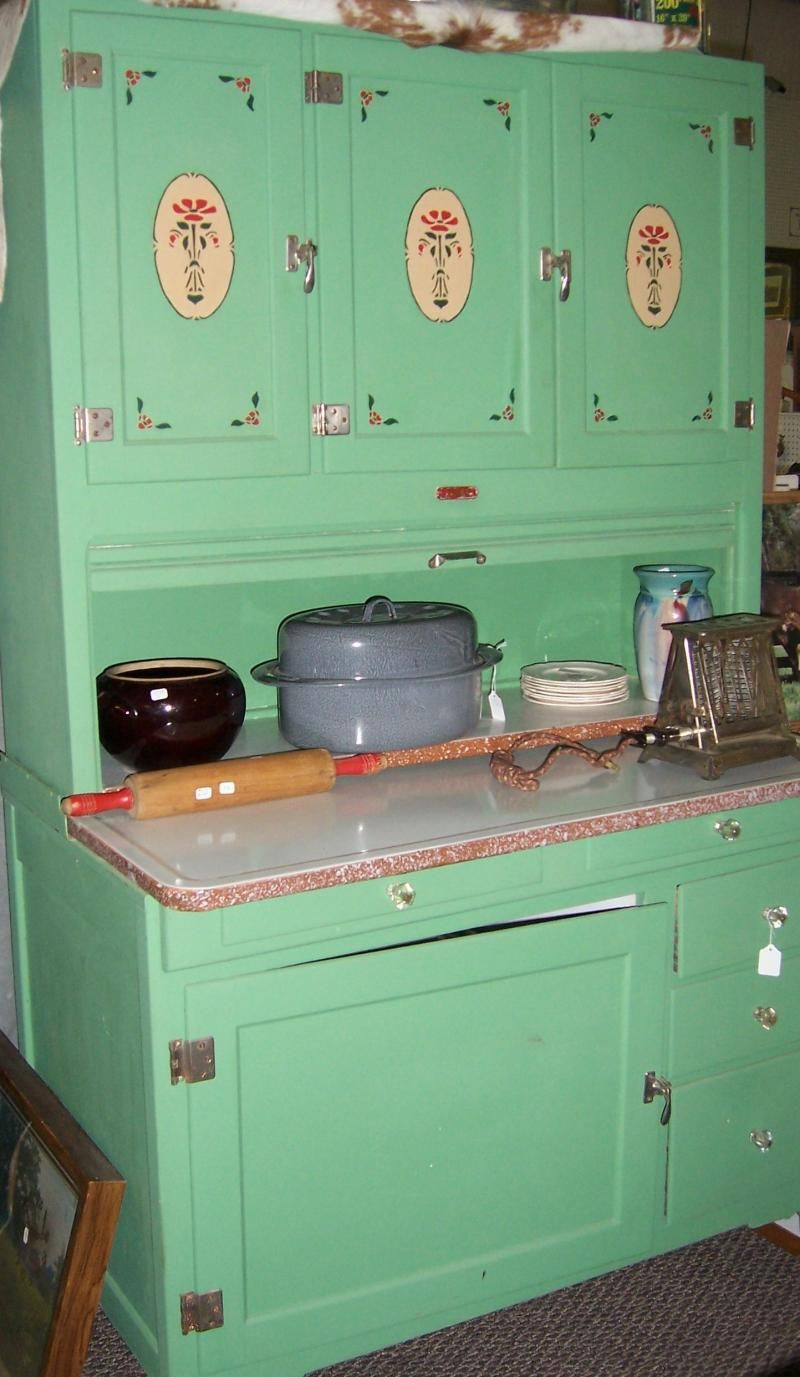 Vintage Green Kitchen Cabinets Hoosiers And All Related Kitchen Cabinets.... By
