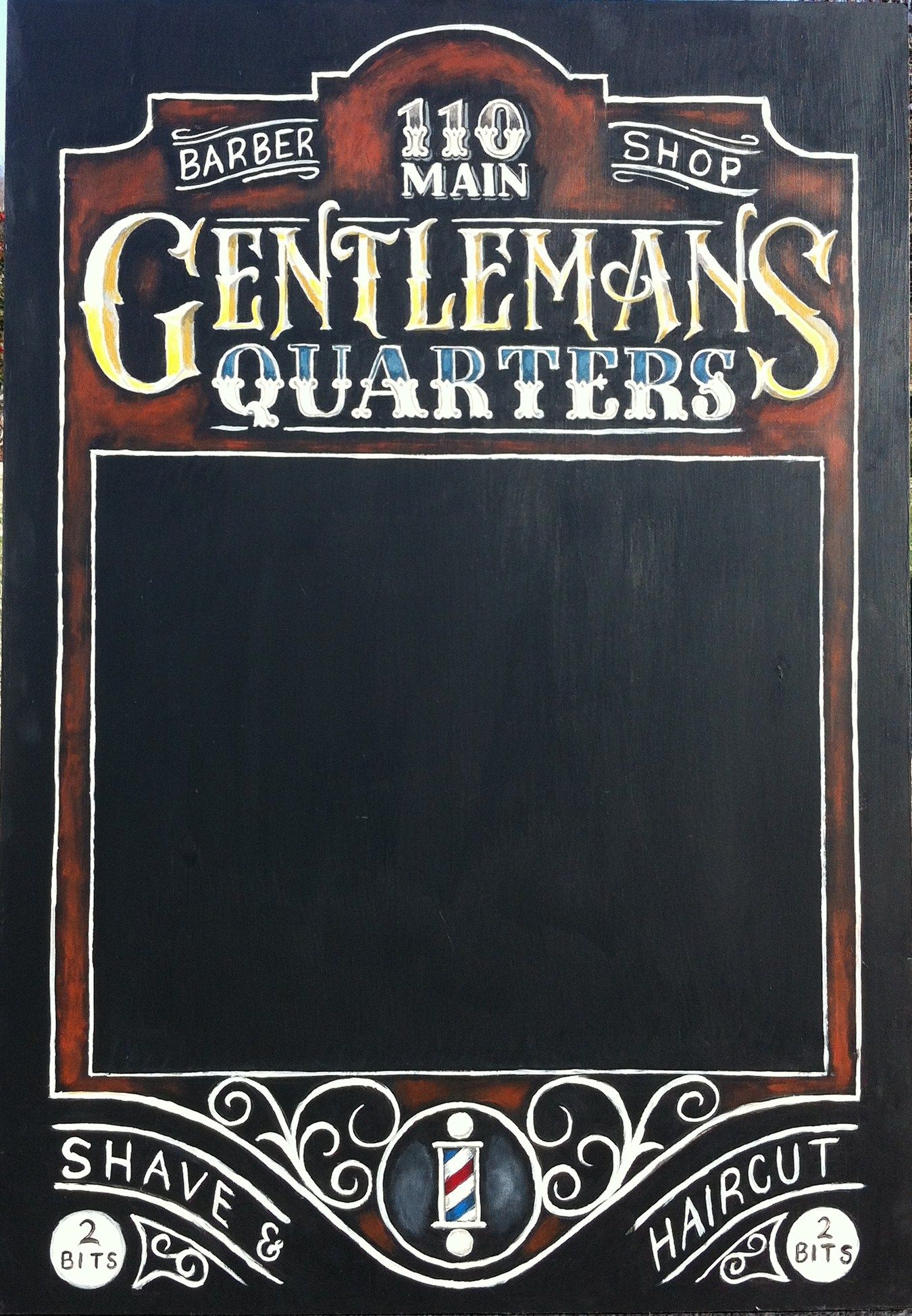Gentlemans quarters barber shop chalkboard sign