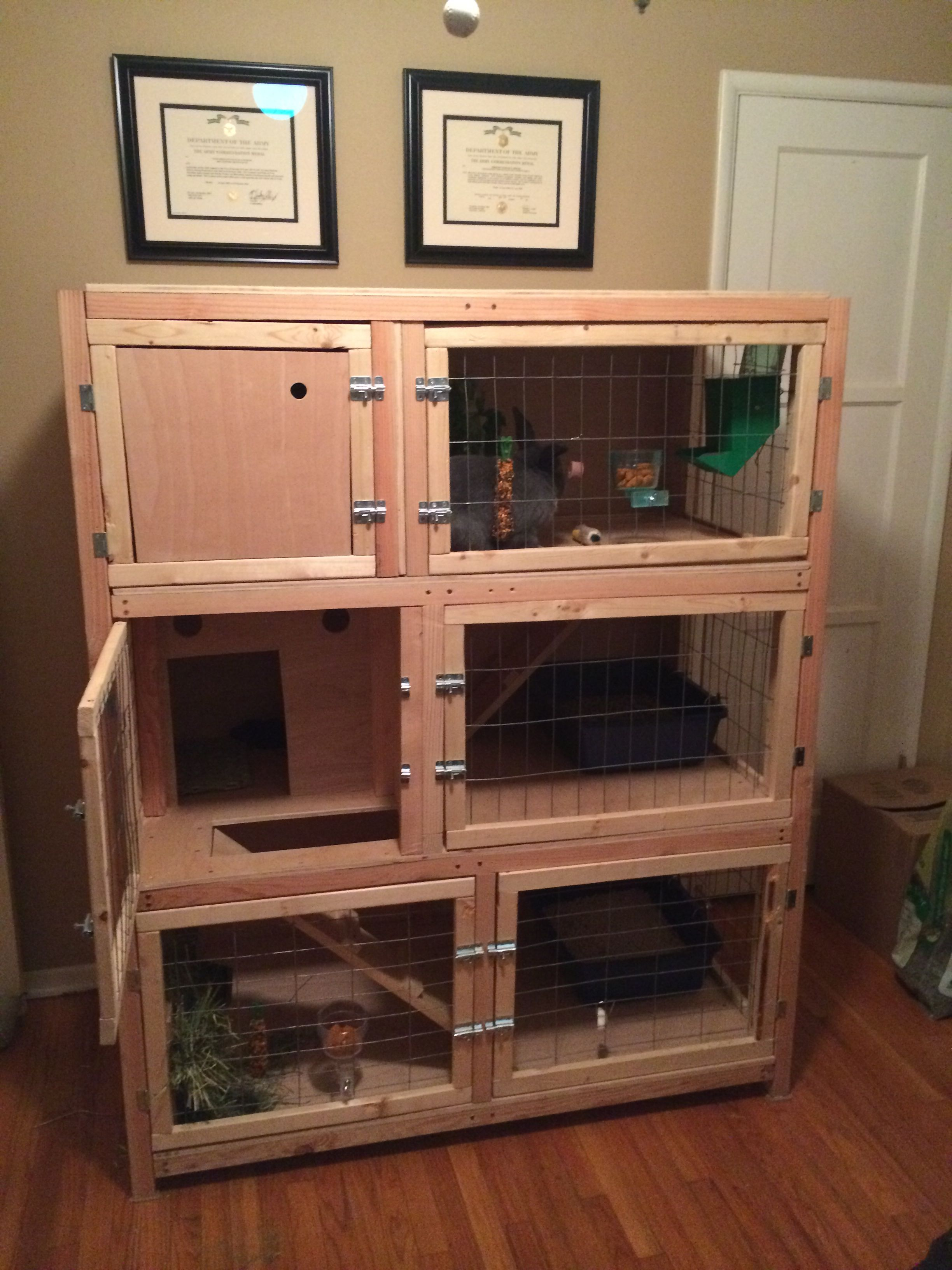 Diy Cage For Rabbit Homemade Wooden Three Story Rabbit Hutch For Multiple