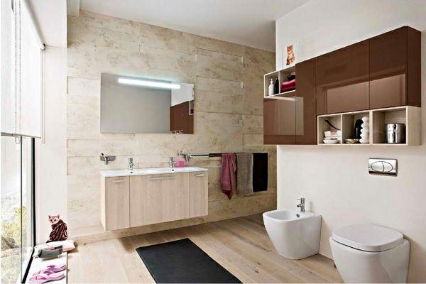 moderne badezimmer ideen warme farbgestaltung badmöbel - badezimmer farbgestaltung