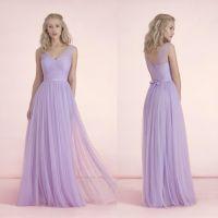 2015 Long Light Purple Bridesmaid Dresses V-Neck Bow Knot ...