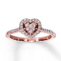 Rose Gold Promise Rings - Kay - Diamond Promise Ring 1/4 ...