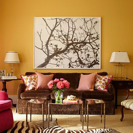 Decorate with Springu0027s Hot Colors Honey colour, Deep brown and - red and brown living room