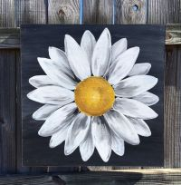 Daisy Painting on Wood Panel Original Flower Art by ...