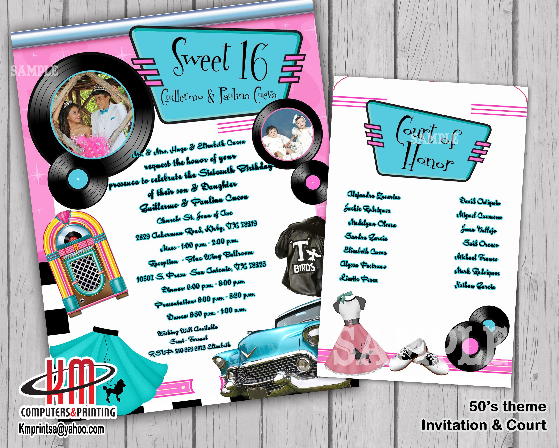 50s theme sweet 16 quince birthday invitation kmprint210 gmail com