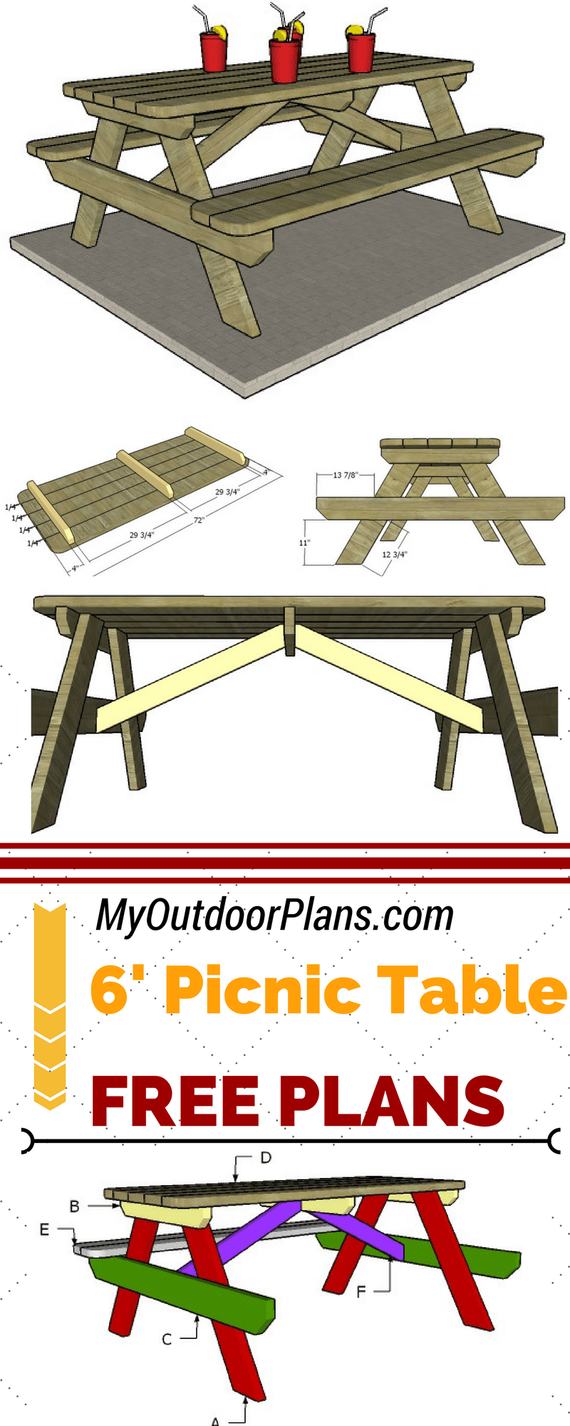 Check Out These Free Plans For Building A 6 Foot Picnic