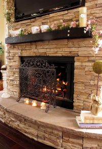 Stacked Stone Fireplaces on Pinterest | Stone Veneer ...