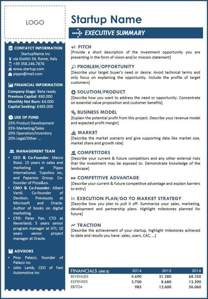 executive summary template 2 u2026 Pinteresu2026 - executive summary format for project report