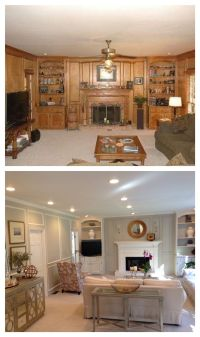 Living Room Before and After. Paneling painted, updated ...