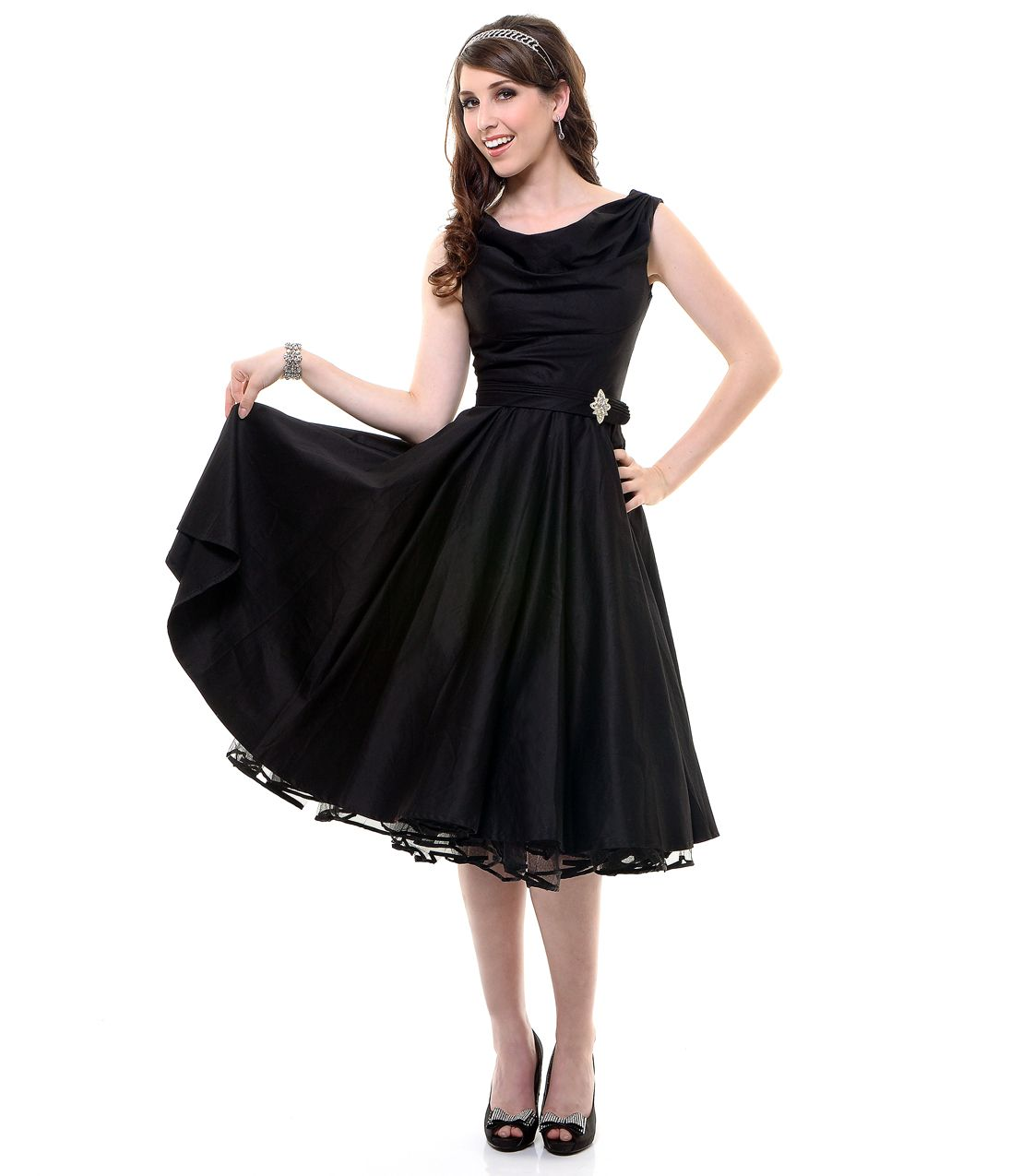 Black scoop neck belted swing dress unique vintage prom dresses retro dresses